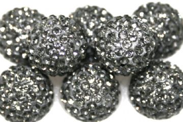 12mm Charocoal Grey 130 Stone  Pave Crystal Beads - Half Drilled  PCBHD12-130-061